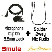 Mic Clip On Microphone and Audio Splitter 35mm Jack Package