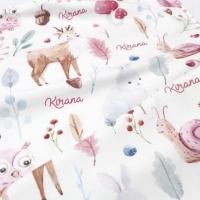Selimut bayi custom nama motif pink animal