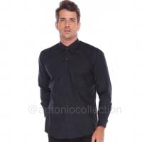 Kemeja Pria Hitam Polos Lengan Panjang / Seragam Baju Lapangan Kantor