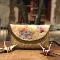 Preloved: clutch tas tangan dompet decoupage anyaman bambu - CREAM