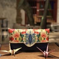 clutch decoupage dompet tangan anyaman bambu - BIRU