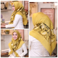 Hijab / jilbab segi empat impor bahan organza premium merk MSN