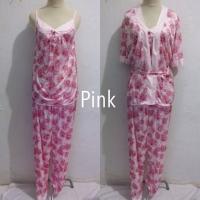 Piyama baju tidur kimono dewasa wanita 3in1 satin setelan celana