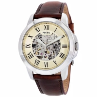Fossil ME3099 Grant Beige Skeleton Dial Brown Leather Strap Watch