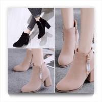 Sepatu ankle boots high heels wanita bahan suede