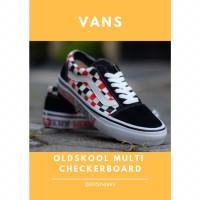 Sepatu VANS Oldskool Multi Checkerboard Red White Black