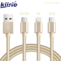 Kabel Data 3 in 1 iOS iPhone Android (Lightning, Micro & Type C) USB