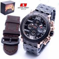 SWISS ARMY SA 8119 CHRONO WATER RESIST - JAM TANGAN PRIA BOX ORI