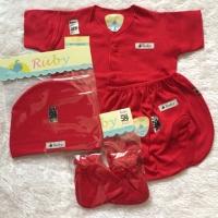 Baju set merah bayi newborn / pakaian set 1 bulan manyue