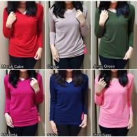 Pakaian wanita Vneck M/L/XL oblong polos kaos trendy