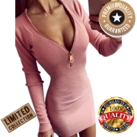 Dress Mini Zipper V Neck Pakaian Wanita Bodycon Stretch Sexy Party