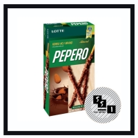 Pepero almond/ biskuit stik lapis cokelat dan kacang almond 32g