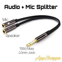 Splitter Audio + Mic TRRS Male 3.5mm Jack Earphone Stereo 2in1 Cable