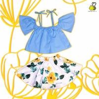 Flowery Sabrina~ bayi cantik rok anak bunga biru baju pantai balita
