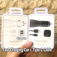 Car charger type C cable fast charging samsung note 8 9 s10 + original - Putih