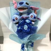 Bunga stitch / boneka stitch , boneka biru , stitch
