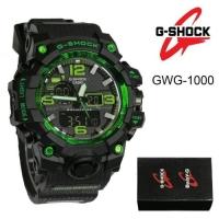 JAM TANGAN NEW G SHOCK GWG1000 HITAM HIJAU CREME DUALTIME GWG-1000