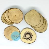 Natural Wooden coaster / Tatakan Gelas Bulat / Free Custom Grafir