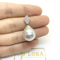 Liontin 18k diamonds with silver pink pearls