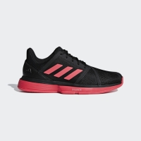 Adidas Men CourtJam Bounce Tennis Shoes Black Shock Red Original