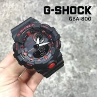 G SHOCK GBA800 RUBBER HITAM LIST MERAH DUALTIME JAM TANGAN SPORT