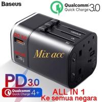 CHARGER TRAVEL BASEUS UNIVERSAL ADAPTOR PLUS 18W USB PD QC 3.0 TZPPS01