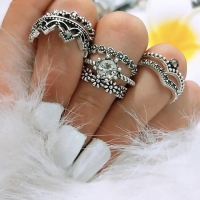 Cincin | Cincin set bohemia flowers row crown and big diamond| CSBH019