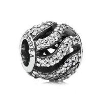 Pandora openwork pave wave charm original Silver 925 ALE