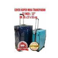 "Sarung pelindung koper travel 22"" bahan plastik mika transparan"