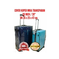 "Sarung pelindung koper 20"" inch bahan mika plastik transparan travel"