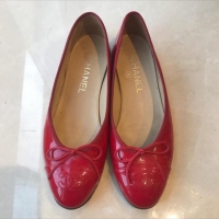Chanel flat shoes ballerina red patent size 37