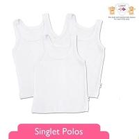 Libby 1 pcs singlet - Kaos Dalam Baby Newborn - Putih - Baju Bayi