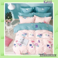 Bed cover set katun jepang motif Flamingo ukuran Double 180