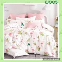 Bed Cover Set Katun Jepang Ukuran sprei 200x200 motif Flamingo