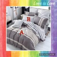 Bed Cover Set Katun Jepang motif Garis / Stripes ukuran sprei 200x200