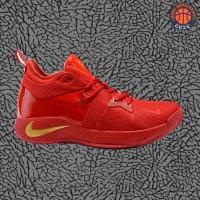 Sepatu Basket Sneakers Nike Paul George 2 PG 2 Red Gold Pria Wanita