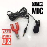 Paket Mic Clip On + Spliter Audio U 3,5 mm Microphone Mikrofon Vlog
