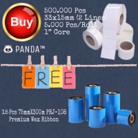 500.000 Pcs 33x15mm Barcode Label free 29 Pcs 75mmX300m Panda Ribbon