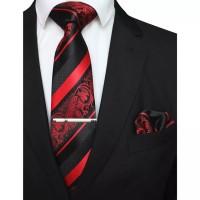 Gift set batik garis merah red isi dasi panjang,pocket square,tie clip