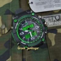 JAM TANGAN NEW G SHOCK GPW2000 DUALTIME GS1057 HITAM HIJAU LED LIGHT