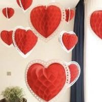 honeycomb heart gantung merah putih size 20cm dekorasi DIRGAHAYU RI