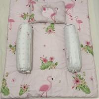 Bed cover set baby bahan katun jepang motif flamingo