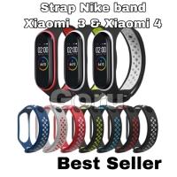 Strap xiaomi mi band 4 miband 3 tali nike sport rubber m3 m4 original - pink white