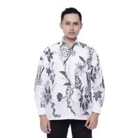 Kemeja Batik Pria Lengan Panjang Batik Dua Raja Motif Kipas Putih