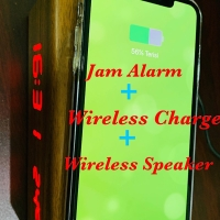 JAM Alarm LED Wireless Charger Blutooth Speaker Temperature Motif Kayu - Cokelat