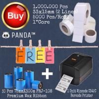 1.000.000 Pcs 33x15mm Barcode Label free Ribbon+Wincode C342C Printer