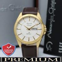 Jam Tangan Pria Alexandre Christie AC 1011 Leather Gold Original