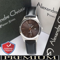 Jam Tangan Wanita Alexandre Christie AC 1009 Leather Silver Black Ori