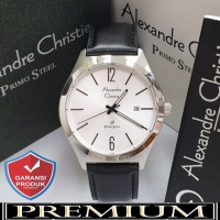Jam Tangan Pria Alexandre Christie AC 1009 Leather Silver Original
