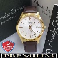 Jam Tangan Pria Alexandre Christie AC 1009 Leather Gold Original